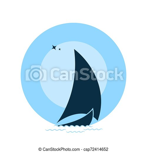Sailboat on the waves against the backdrop of the moon. - csp72414652