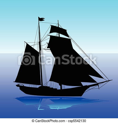 sailboat silhouette vector vector clipart - search illustration