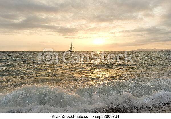 Sailboat Sunset - csp32806764