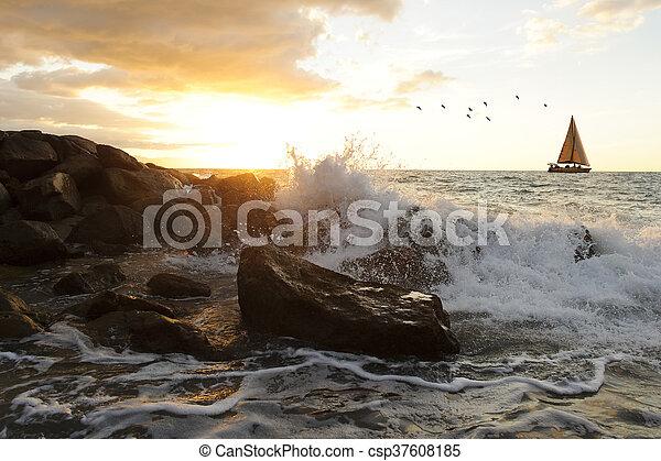 Sailboat Waves - csp37608185