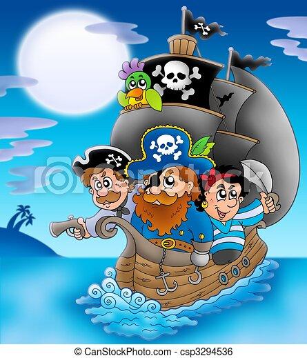 Sailboat with cartoon pirates at night - csp3294536