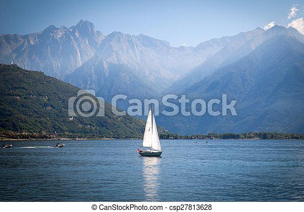Sailboats at Lake Como, Italy - csp27813628