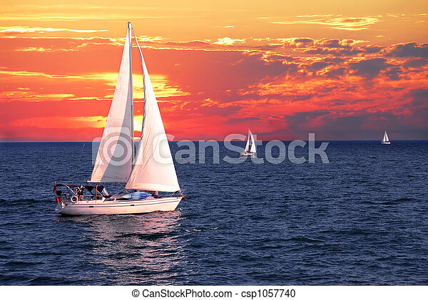Sailboats at sunset - csp1057740