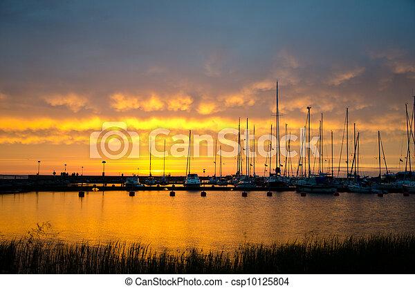 Sailboats in sunset - csp10125804
