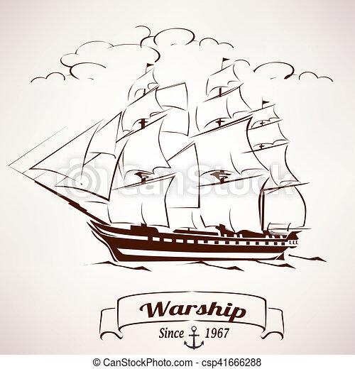 Sailer Vintage Wooden Ship Vector Sketch