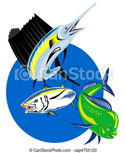 Sailfish dolphin fish tuna - csp4755120