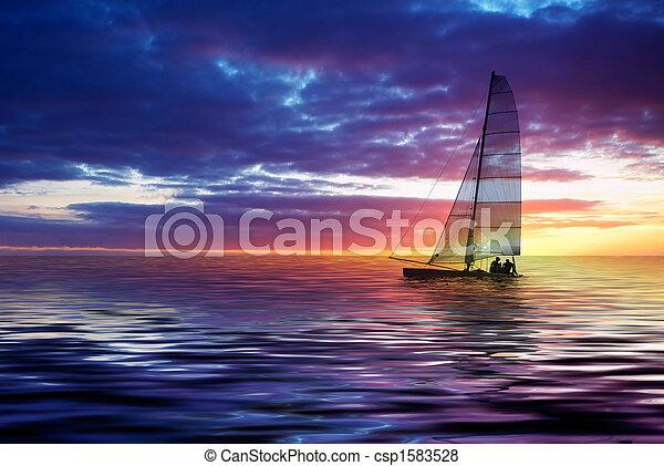 sailing and sunset - csp1583528
