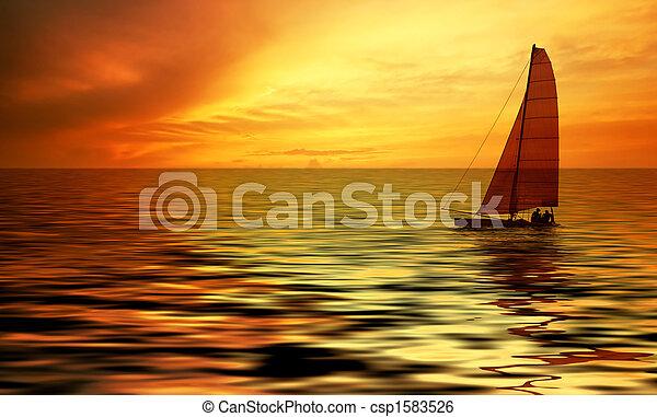 sailing and sunset - csp1583526