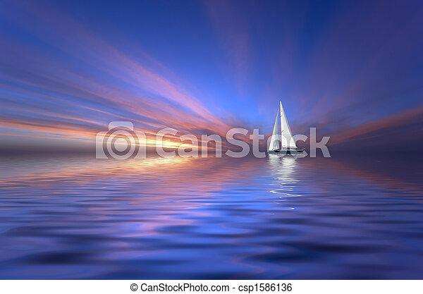 sailing and sunset - csp1586136