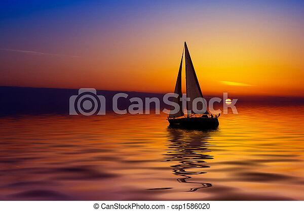 Sailing and sunset - csp1586020