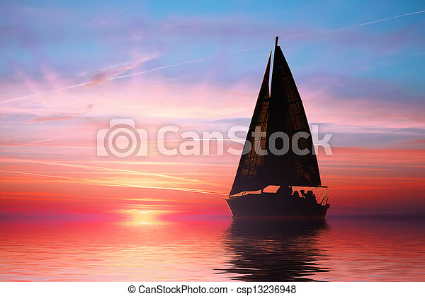 Sailing at sunset on the ocean - csp13236948