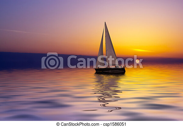 Sailing at sunset - csp1586051