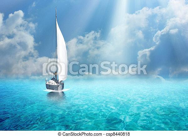 Sailing boat in the ocean - csp8440818