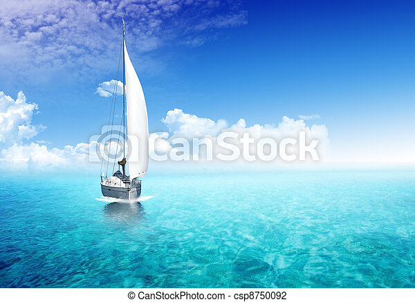 Sailing boat in the ocean - csp8750092