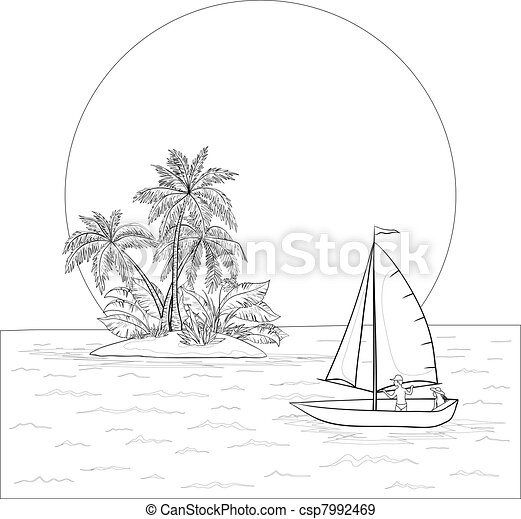 sailing boat in the tropical sea contours sailing boat with a
