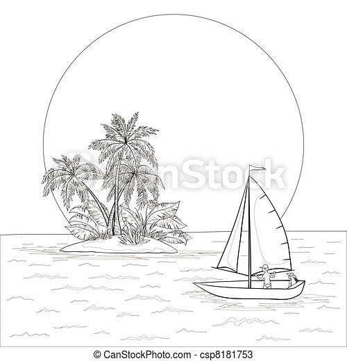 Sailing boat in the tropical sea, contours - csp8181753