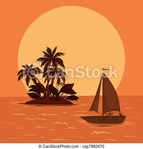 Sailing boat in the tropical sea - csp7992470