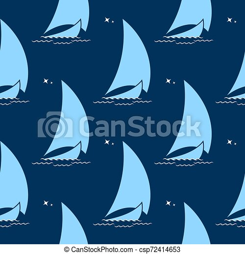 Sailing boat on the waves against the background of the night sky seamless pattern - csp72414653