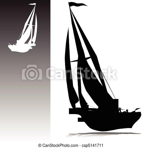 sailing boat vector silhouettes - csp5141711