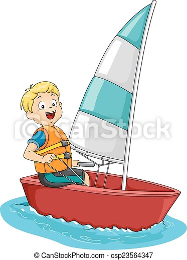 sailing boy illustration featuring a boy on a sailboat eps vector rh canstockphoto com sailing clip art free sailing clipart black and white