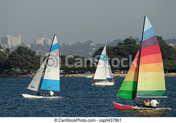 Sailing in Mission Bay 2 - csp0437861