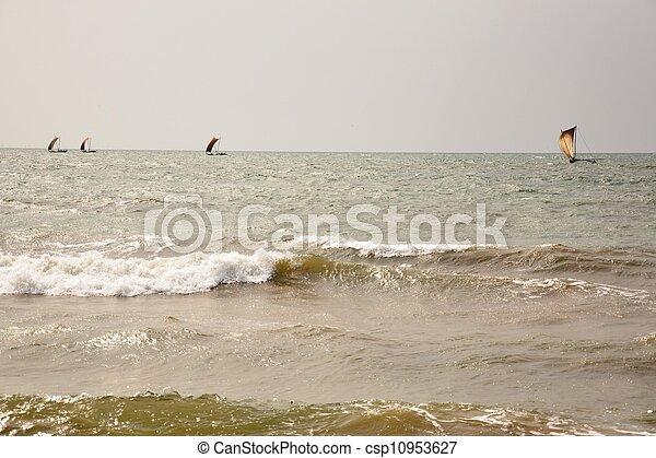 sailing in the rough sea - csp10953627