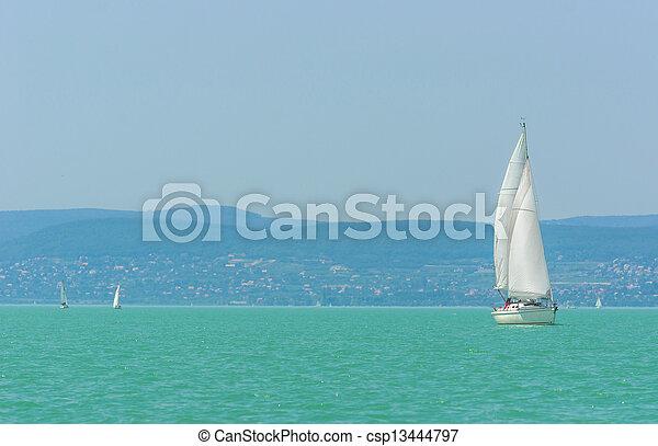 Sailing on beautiful blue sea - csp13444797
