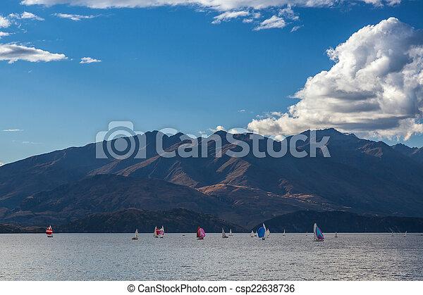 Sailing on Lake Wanaka in the Otago Region of New Zealand - csp22638736