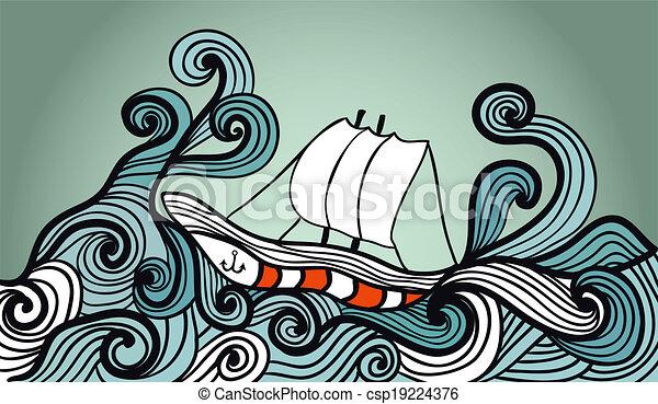 sailing ship in the storm ocean - csp19224376