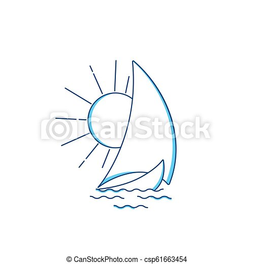 Sailing ship in the waves against the rising sun. Vector icon in line art style. Travel, transportation logo. Water sports concept - csp61663454