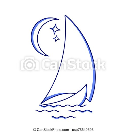 Sailing ship in the waves against the moon icon in line art style. Travel, transportation. - csp78649698