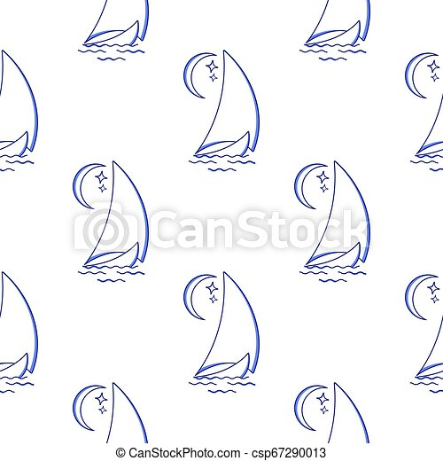 Sailing ship in the waves against the moon seamless pattern. Vector icon in line art style. Travel, transportation - csp67290013