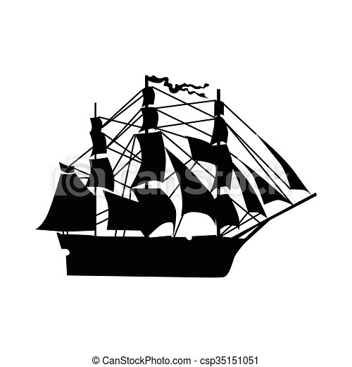 sailing ship silhouette isolated on white background clipart vector rh canstockphoto com cargo ship silhouette vector cargo ship silhouette vector