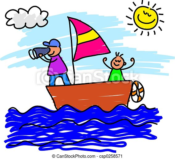 sailing trip father and son on a sailing voyage together rh canstockphoto com sailing clipart gif selling clip art on etsy