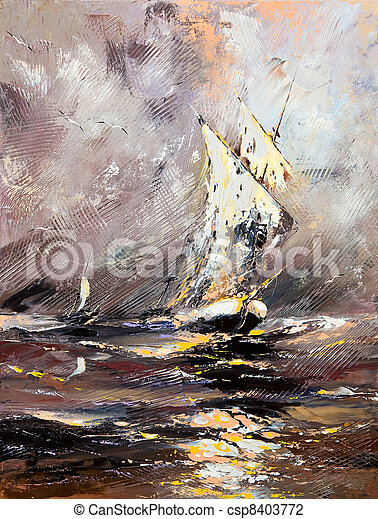 Sailing vessel in a stormy sea - csp8403772
