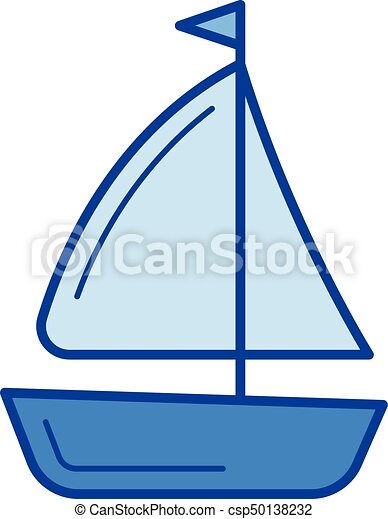 Sailing vessel line icon. - csp50138232
