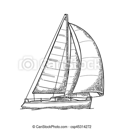 Sailing Yacht Sailboat Vector Drawn Flat Illustration For Yacht