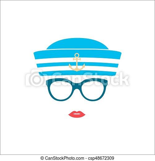 a55cdf64 Sailor girl in blue striped hat. vector illustration.