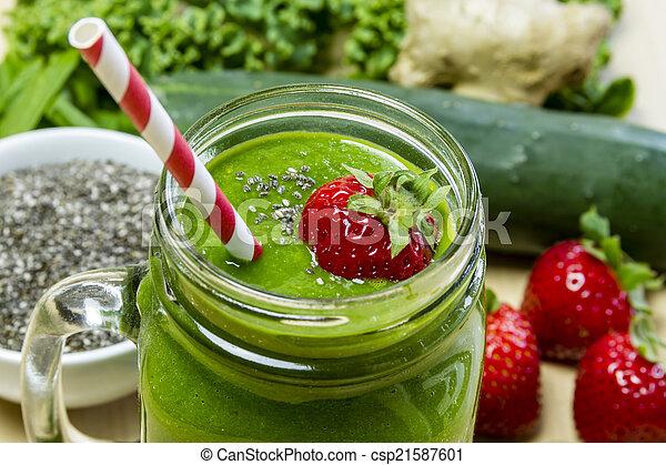 sain, boisson jus, vert, smoothie - csp21587601