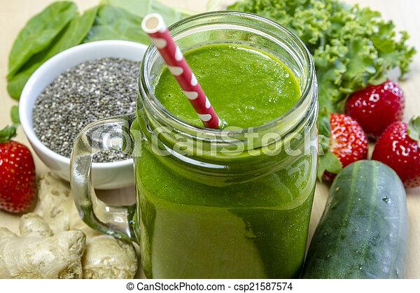 sain, boisson jus, vert, smoothie - csp21587574