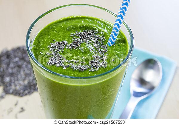 sain, boisson jus, vert, smoothie - csp21587530