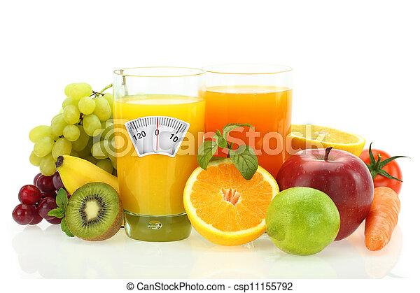 sain, légumes, régime, eating., jus, fruits, blanc - csp11155792