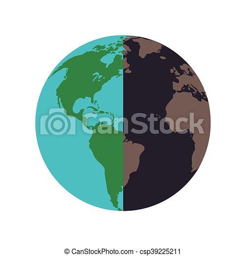 Sain La Terre Pollué Icône Plat Sain Illustration Pollué