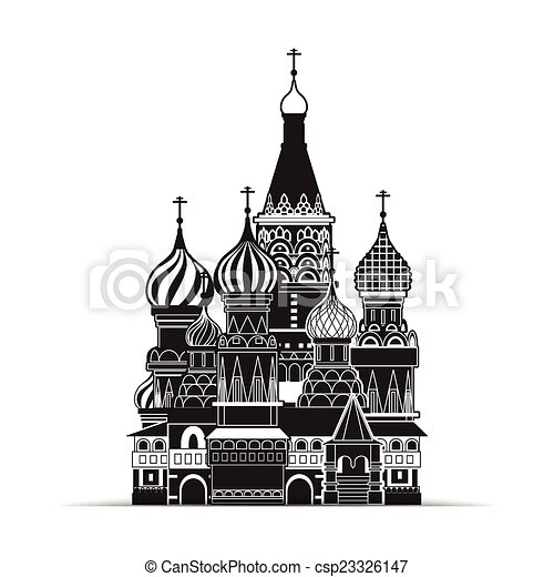 Saint Basil cathedral , Moscow, vector symbol - csp23326147