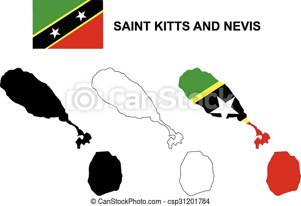 Saint Kitts and Nevis map vector - csp31201784