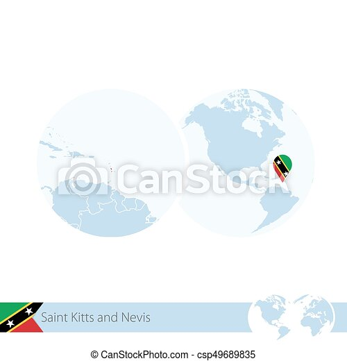 Saint Kitts and Nevis on world globe with flag and regional map of Saint Kitts and Nevis. - csp49689835