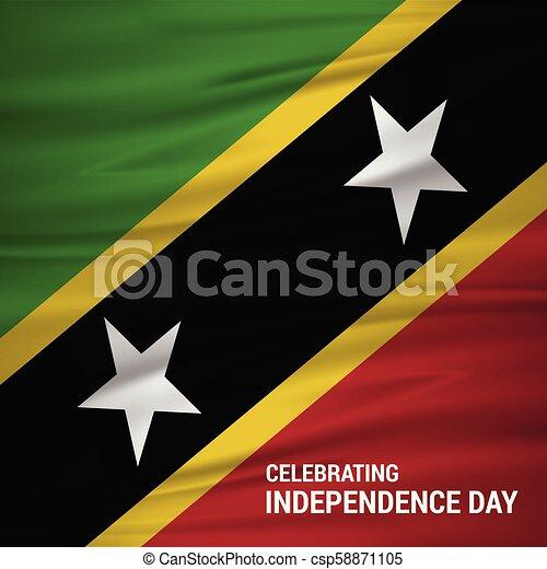 Saint Kitts Independence Day Waving Flag - csp58871105