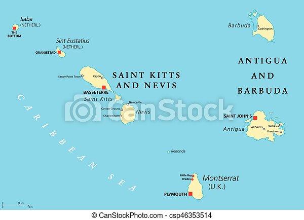 Saint kitts nevis antigua barbuda and montserrat vector clip