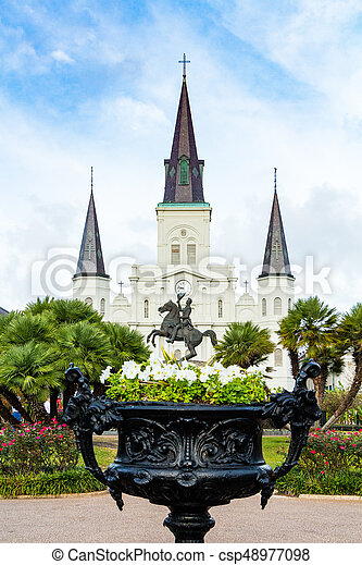 Saint Louis Cathedral as Viewed From Jackson Square - csp48977098