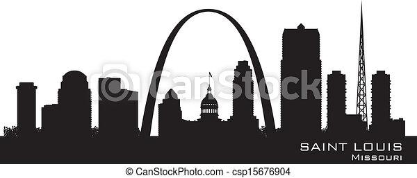 Saint Louis Missouri city skyline vector silhouette - csp15676904
